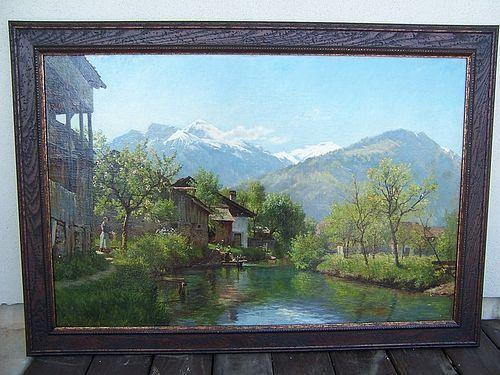 A Stunning Oil on Canvas Vista by August Fischer, dated 1886