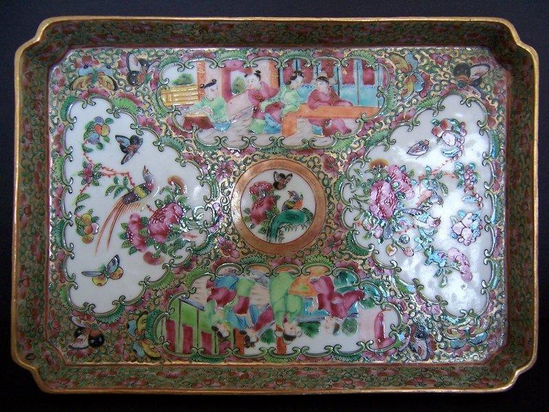 A Charming Rose Medallion Tea Ensemble, 19th Century
