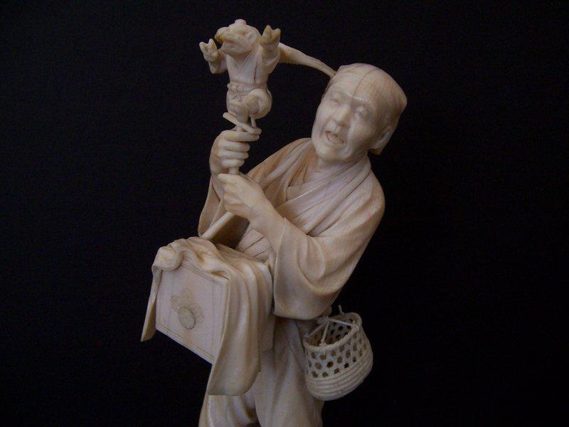 A  Masterpiece Carved Ivory Okimono, Meiji 1868-1912