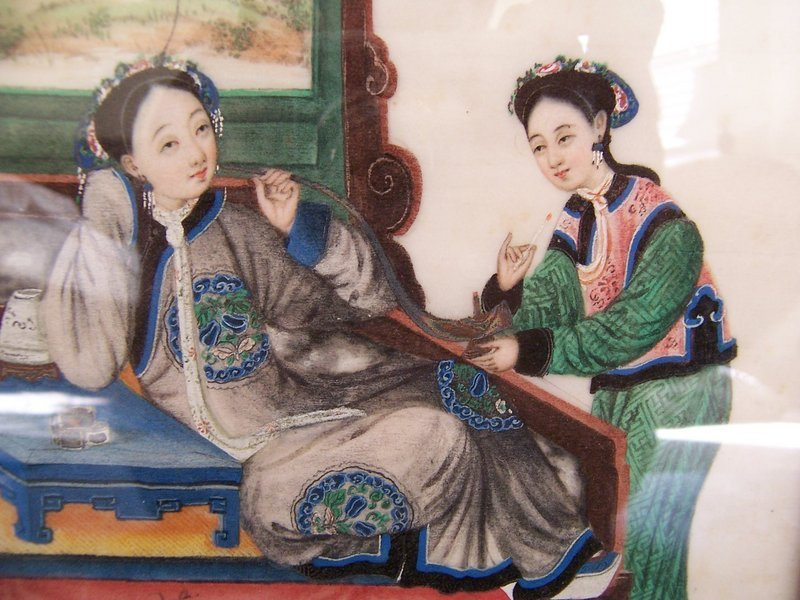 A Beautiful Pair of Chinese Pith Paintings, 1840-1860