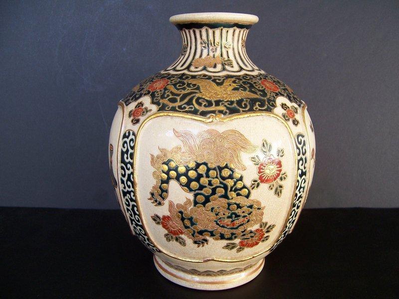 A Very Fine Late Edo (1840-60) Gosu Blue Satsuma Vase