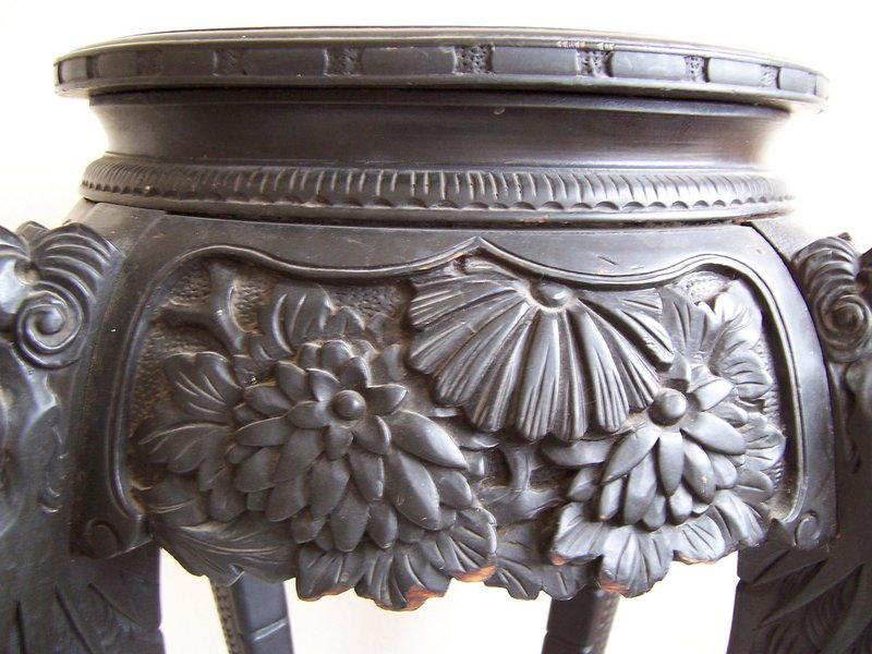 A Fine Large Lacquered Carved Wood Stand, late 19th