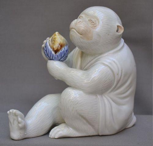 Hirado porcelain. Monkey and peach