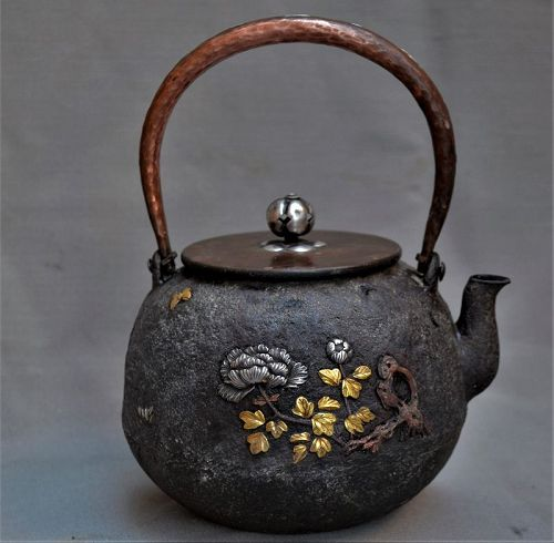 Cast iron Teapot (tetsubin) inlaid with solid gold and silver
