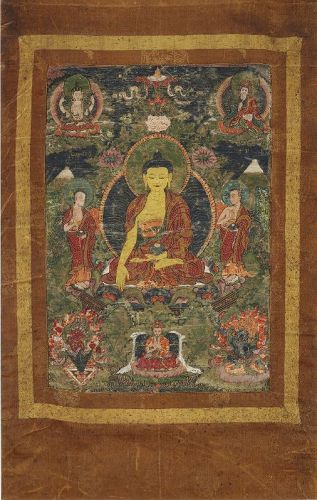 A Bhutanese Drugpa Kagyu Thangka with Sakyamuni. 19th cent