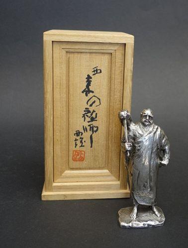 Kitamura Seibo silver sculpture of a standing DARUMA