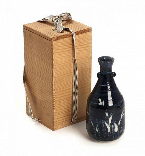 KATO Nobuaki, blue Oribe style small vase