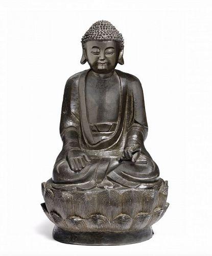 Antique, Ming Dynasty bronze Buddha Sakyamuni