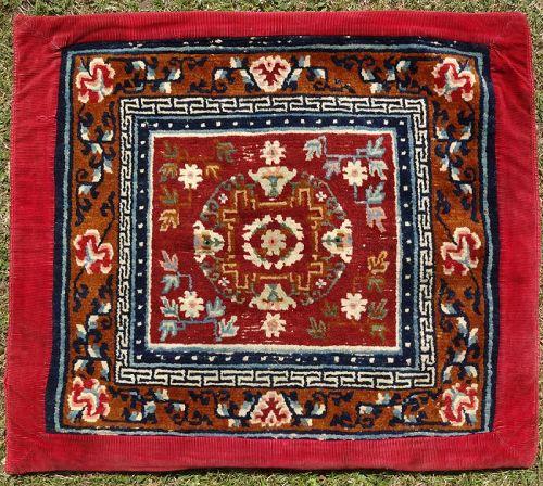 Antique Tibetan Woollen Meditation Mat, Rug, Carpet