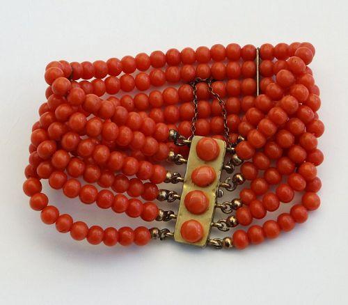 Vintage Mediterranean Coral, 6 Strand Red Coral Beads Bracelet