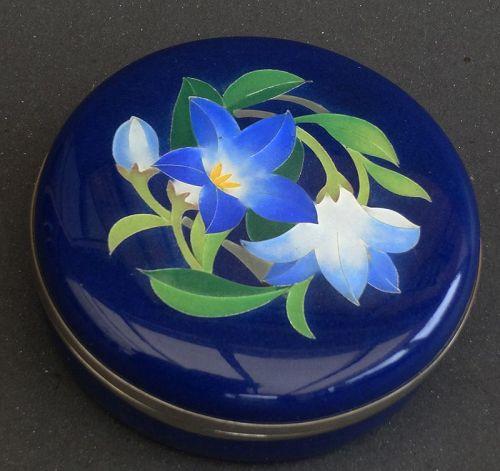 "Japanese Enamel ""Amdoâ� mark box decorated with  bluebells"