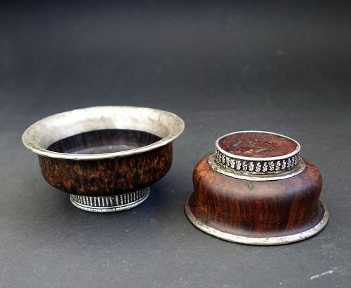 Old Tibetan Pair of jha-phor, Butter Tea Bowl