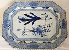 Japanese blue and white porcelain charger with floral decoration