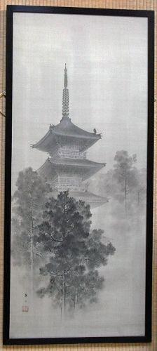 Japanese painting on silk, Buddhist pagoda. Suzuki Kason