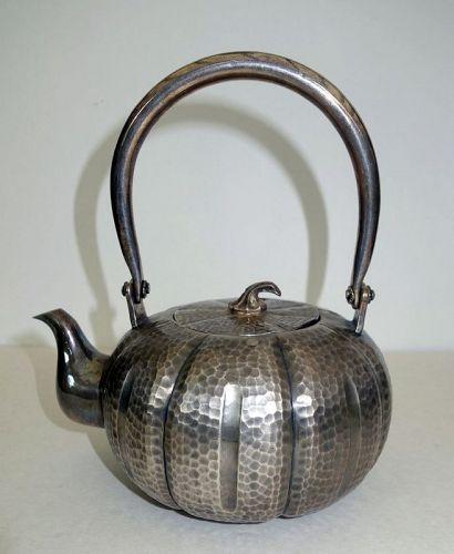 Japanese Hammered Pure Silver Teapot Pumpkin shape. 660 gr
