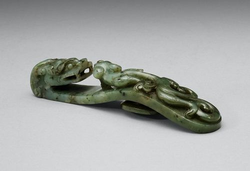 Antique Fine Mottled Spinach Jade Belt Hook, Qing