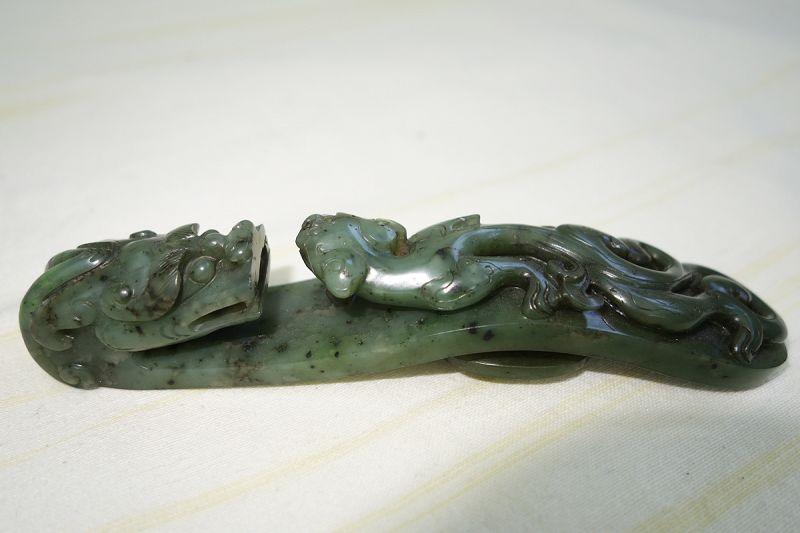 Antique Fine Mottled Spinach Jade Belt Hook, Qing