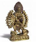 Antique Tibeto-Chinese Gilt Bronze Yamantaka and Consort