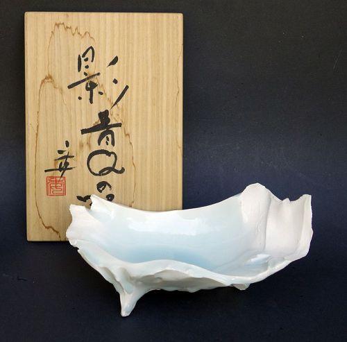 Kato Tsubusa Celadon Asymmetrical Vessel in Seihakuji Glaze