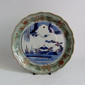 Ko Imari Landscape Seji Sometsuke Dish c.1750