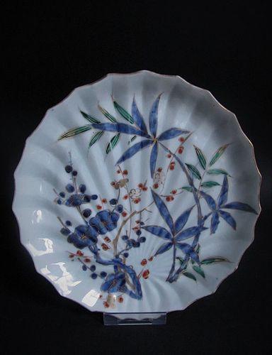 Ko Imari Kakiemon Prunus and Bamboo Hemp Palm Dish c.1760 No 1