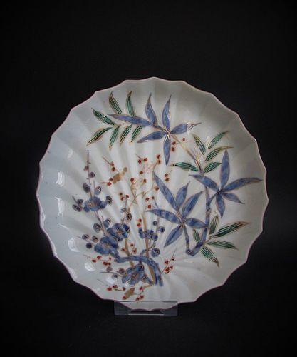 Ko Imari Kakiemon Prunus and Bamboo Hemp Palm Dish c.1760 No 2