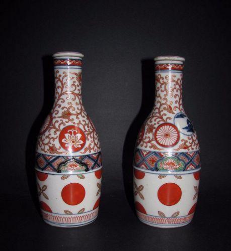 Pair Daishoji Imari Kenjo style Sake Bottles Meji