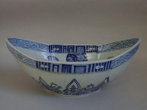 Rare Kakiemon Large Boat shaped Bowl Late Edo