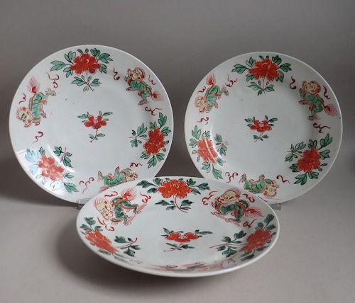 Set of Three Rare Arita �Sancai� Botan ni Shishi Pattern Dishes c.1700