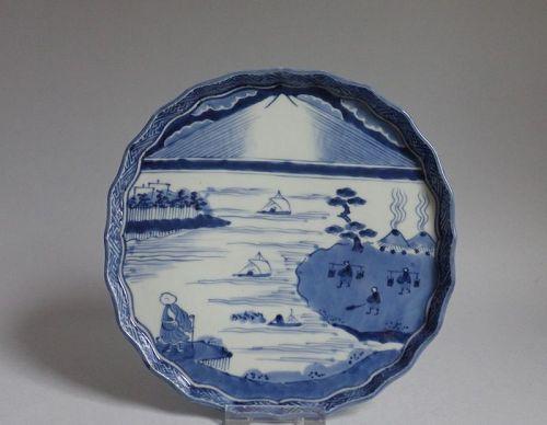 Ko Imari Saigyo Hoshi Viewing Mount Fuji Late 18th Century Edo