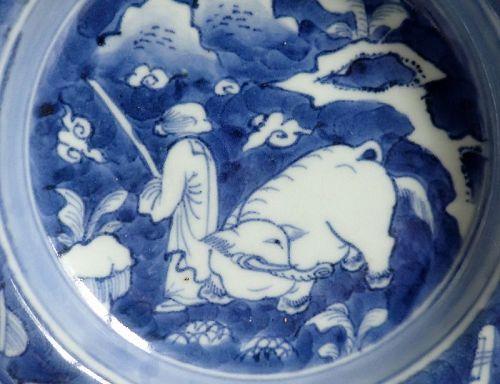 Ko Imari Shun and the Elephants Dish Late 18th Century Edo