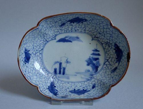Ko Imari Sansui and Sweetfish and Ice Pattern Dish c.1720