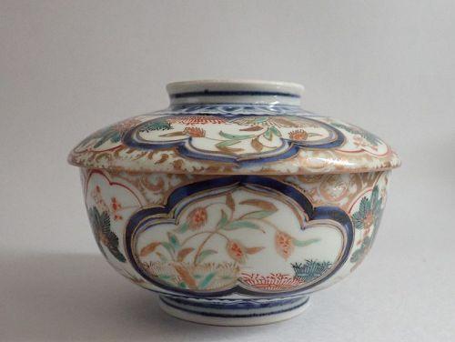 Ko Imari Kinsai Banded Hedge and Millet Covered Bowl c.1750 No 2