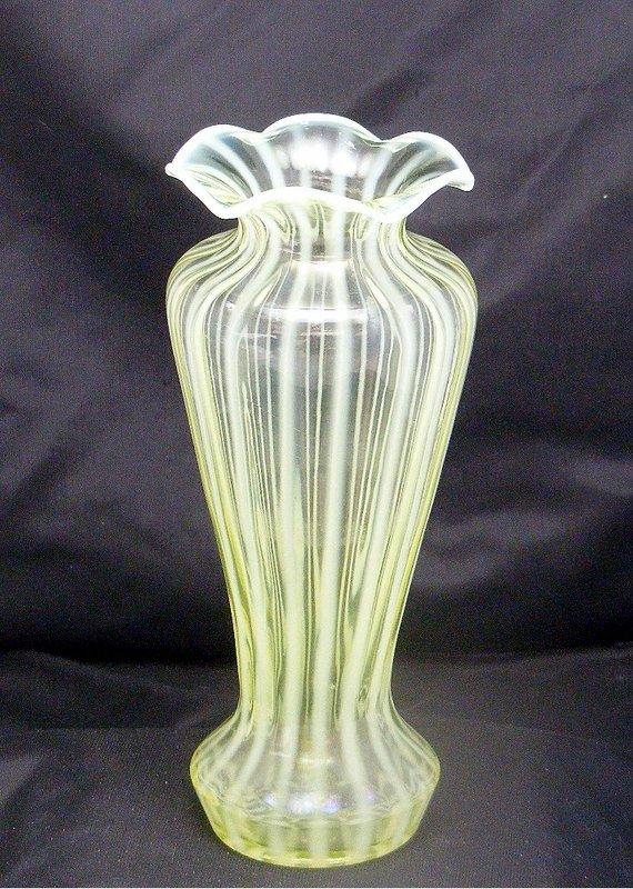 Fenton Vaseline Rib Optic Art Deco Shapely Glass Vase
