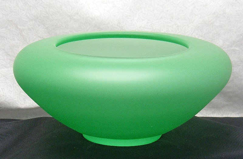 Tiffin Emerald Green Satin Glass Cupped Flower Bowl