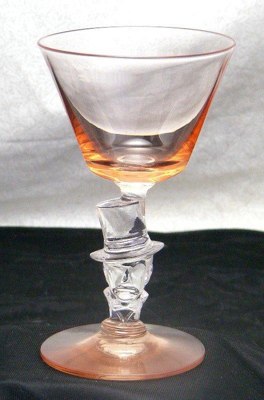 Morgantown Knickerbocker Top Hat Pink Wine Stem