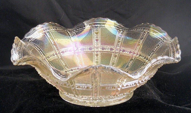 Imperial Beaded Block Carnival Yellow Ruffle Bowl