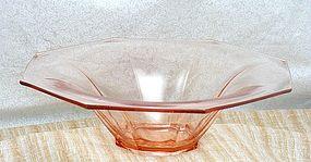 Heisey Flat Panel Octagon Bowl in Flamingo Pink ~Rare