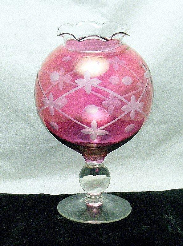 Ivy or Rose Bowl Stem Vase in Cranberry & Cut Design