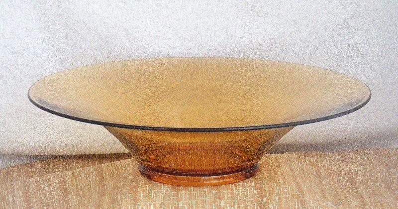 Cambridge Amber Broad Rim Centerpiece Bowl ~Marked