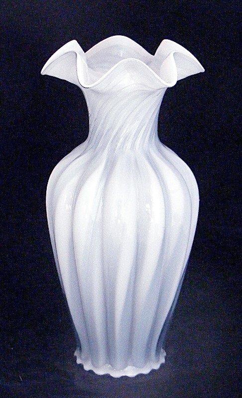 Fenton Blue Grey w White Cased Glass Melon Swirl Vase