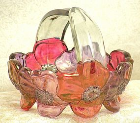 Westmoreland Carnival Pansy Flower Glass Basket