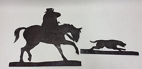 ANTIQUE TIN MR JORROCKS HORSE HOUND HUNTING METAL WALL PIECE