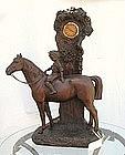 Antique Figural Working Clock Boy on HORSE Czech