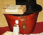 Antique Hunting Silk Top Hat and Leather Box Plus