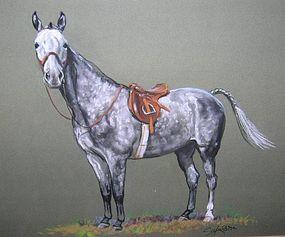 Original Ole Larsen Field Hunter Pastel Drawing