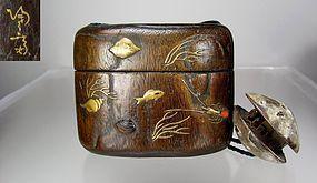 19th C Japanese Wood Tonkotsu, Ojime Clamshell Netsuke