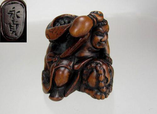 NAGASADA, EDO Period Japanese Wood Netsuke, Hero Slaying a Shishi