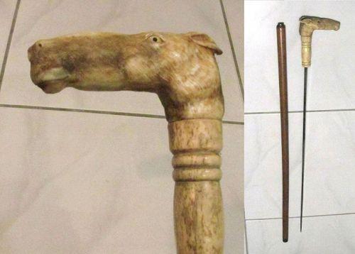 Antique GADGET CANE, Carved Stag Antler Horse Head Handle