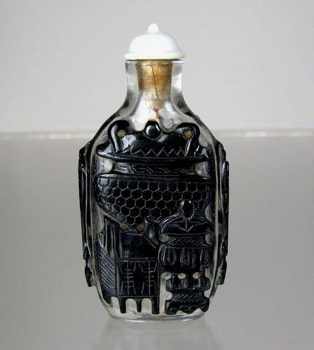 "19th C., Peking Glass Black Overlay Snuff Bottle , ""Nine Bronze Vessel"